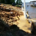 We had a bad storm a few nights ago. Heavy washing in the exposed area, but the new seawall protected the finished area.