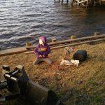 Little guy was a big help on the seawall cap board repair
