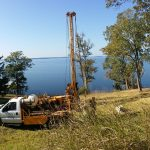 Soil boring truck taking soil samples from 0 to 35 feet deep.