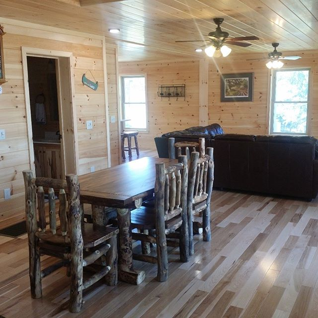 Our new dining table and chairs just arrived to the Toledo Bend Cabin! Rustic aspen lodgepole wood.  #ToledoBend #ToledoBendCabin #ToledoBendCabins