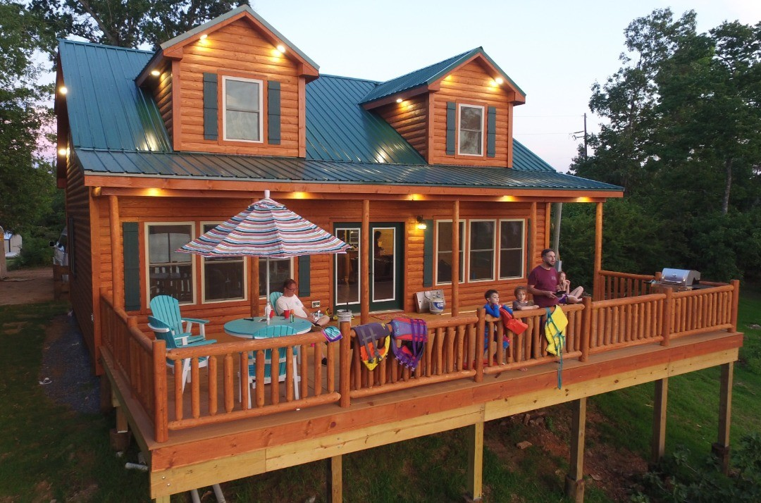 Aerial shot of the Toledo Bend Cabin while we were flying drones.  To book your reservation at the cabin call (318) 272-0951 or visit:  ToledoBendCabins.com  #ToledoBend #ToledoBendCabins #ToledoBendCabin