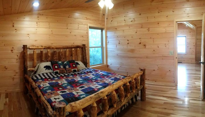 Bedroom 3 has a king size aspen lodgepole bed.