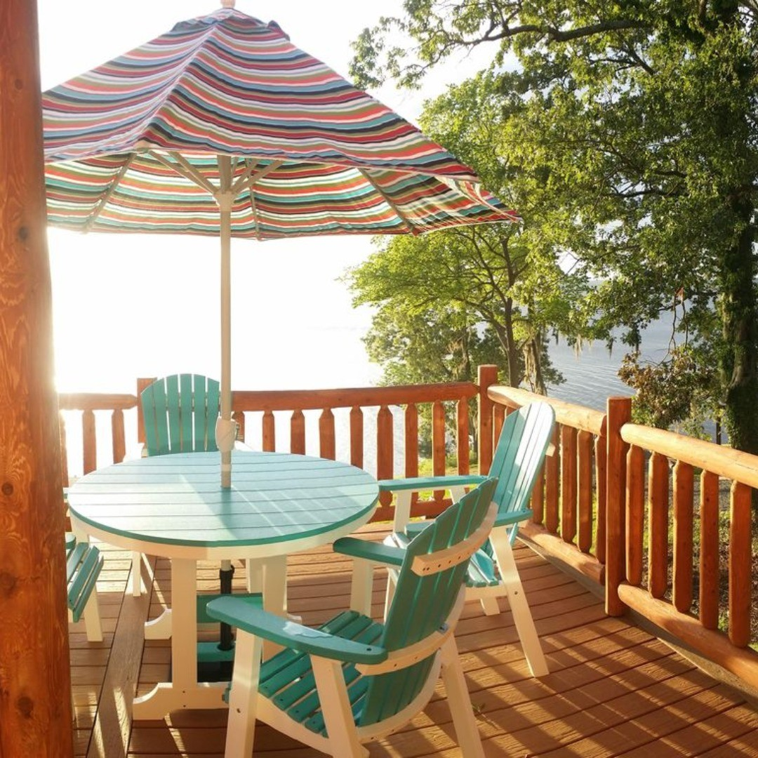 The furniture on the balcony at the Toledo Bend Cabin is made out of recycled milk jugs.  It's designed to hold its color because the color runs all the way through the material.  #ToledoBend #ToledoBendCabins #ToledoBendCabin