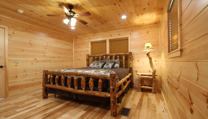 Bedroom 2 has a King Size lodgepole bed.