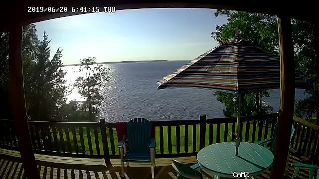 It's a great evening to hang out at the lake! Check out the view from the Toledo Bend Cabin!