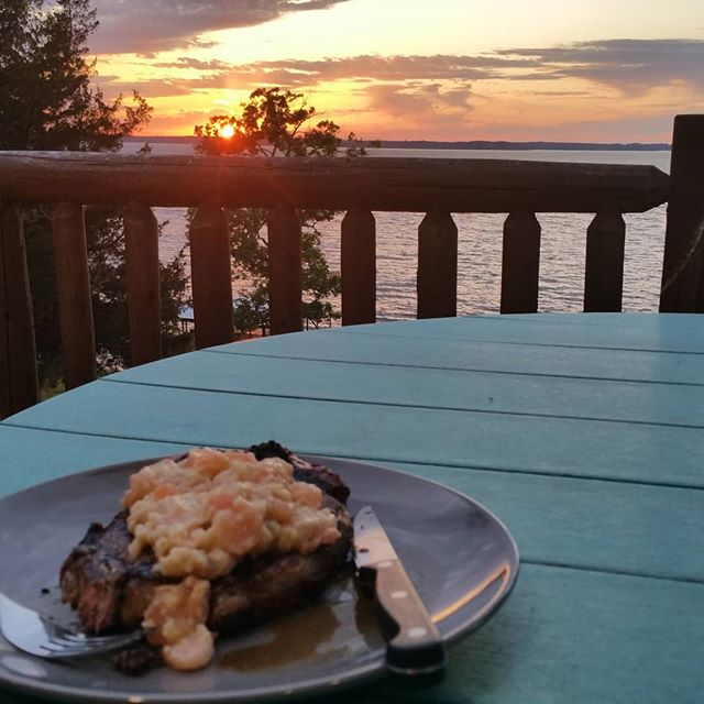 Sunset at Toledo Bend cabin and a shrimp etoufee topped ribeye steak  #therapy #iwanttolivehere #heaven #peaceonearth