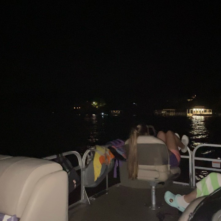 Chillin in the pontoon out in front the Toledo Bend Cabin